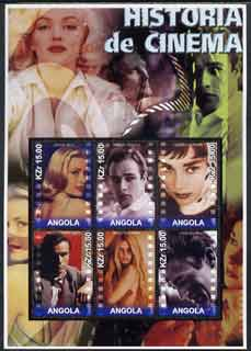 Angola 2002 History of the Cinema #04 large perf sheetlet containing set of 6 values unmounted mint (Grace Kelly, Marlon Brando, Audrey Hepburn, Montgomery Clift, Brigitte Bardot & James Dean)