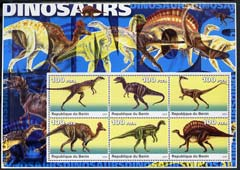 Benin 2003 Dinosaurs #01 large perf sheetlet containing set of 6 values unmounted mint