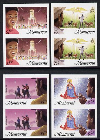 Montserrat 1985 Christmas set of 4 each in unmounted mint imperf pair (SG 665-8var)