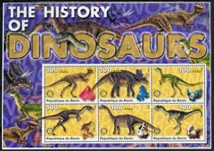 Benin 2003 Dinosaurs #04 large perf sheetlet containing set of 6 values each with Rotary Logo and a mineral, unmounted mint