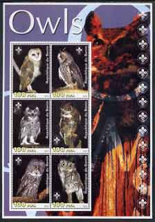 Benin 2003 Owls large perf sheetlet containing set of 6 values each with Scout Logo, unmounted mint