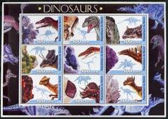 Benin 2003 Dinosaurs #05 large perf sheetlet containing set of 9 values unmounted mint