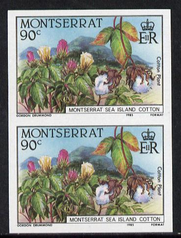 Montserrat 1985 Sea Island Cotton 90c (Cotton Plants) imperf pair unmounted mint as SG 645var