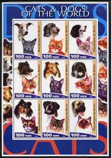 Benin 2003 Cats & Dogs of the World perf sheetlet containing set of 9 values unmounted mint