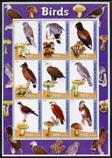 Benin 2003 Birds & Fungi large perf sheetlet containing set of 9 values unmounted mint