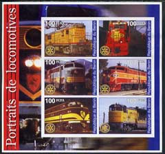 Benin 2002 Portraits of Locomotives imperf sheetlet containing set of 6 values each with Rotary Logo unmounted mint