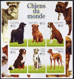Benin 2002 World of Dogs imperf sheetlet containing set of 6 values each with Scout Logo unmounted mint
