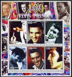Benin 2002 Birth Centenary of Walt Disney perf sheetlet containing 6 values showing Elvis (with Disney in borders) unmounted mint