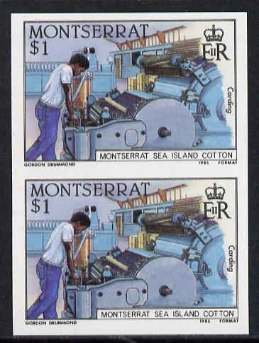 Montserrat 1985 Sea Island Cotton $1 (Operator at Carding Machine) imperf pair (SG 646var)