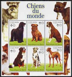 Benin 2002 World of Dogs perf sheetlet containing set of 6 values each with Scout Logo unmounted mint