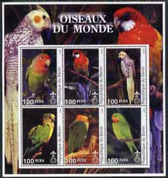 Benin 2002 Parrots perf sheetlet containing set of 6 values each with Scout Logo unmounted mint