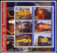 Benin 2002 Portraits of Locomotives perf sheetlet containing set of 6 values each with Rotary Logo unmounted mint