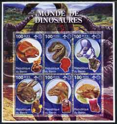 Benin 2002 World of Dinosaurs (& Minerals) perf sheetlet containing set of 6 values each with Scout Logo unmounted mint