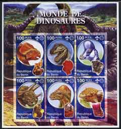 Benin 2002 World of Dinosaurs (& Minerals) imperf sheetlet containing set of 6 values each with Scout Logo unmounted mint