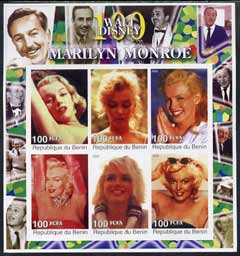 Benin 2002 Birth Centenary of Walt Disney featuring Marilyn Monroe imperf sheetlet containing set of 6 values unmounted mint