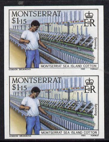 Montserrat 1985 Sea Island Cotton $1.15 (Threading Loom) imperf pair (SG 647var)