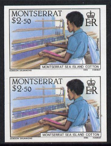 Montserrat 1985 Sea Island Cotton $2.5 (Weaving with Hand Loom) imperf pair (SG 648var)