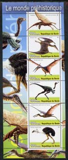 Benin 2003 Dinosaurs #10 perf sheetlet containing 6 values unmounted mint