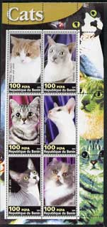 Benin 2003 Domestic Cats #02 perf sheetlet containing 6 values unmounted mint