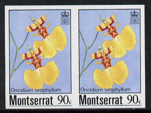 Montserrat 1985 Orchids 90c (Oncidium urophyllum) imperf pair (SG 631var)