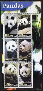 Benin 2003 Pandas perf sheetlet containing 6 values unmounted mint
