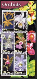 Benin 2003 Orchids perf sheetlet containing 6 values unmounted mint
