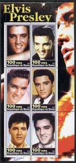 Benin 2003 Elvis Presley #03 perf sheetlet containing set of 6 values unmounted mint