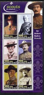 Benin 2003 Sir Robert Baden-Powell perf sheetlet containing set of 6 values unmounted mint