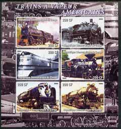 Congo 2005 American Steam Trains perf sheetlet containing set of 6 unmounted mint
