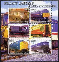 Congo 2005 British Diesel Trains perf sheetlet containing set of 6 unmounted mint