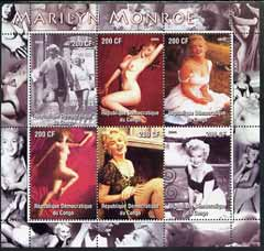 Congo 2005 Marilyn Monroe perf sheetlet containing set of 6 unmounted mint