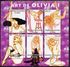 Congo 2005 Pin-up Art of Olivia #01 perf sheetlet containing set of 6 unmounted mint