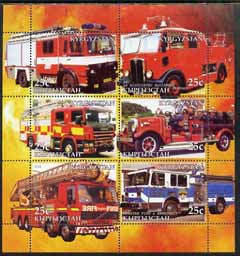 Kyrgyzstan 2005 Fire Engine #04 perf sheetlet containing set of 6, each with Scout Logo, unmounted mint