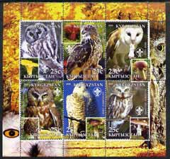 Kyrgyzstan 2005 Owls & Fungi perf sheetlet containing set of 6, each with Scout Logo, unmounted mint