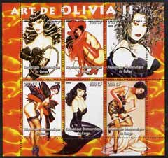 Congo 2005 Pin-up Art of Olivia #02 perf sheetlet containing set of 6 unmounted mint