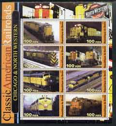 Benin 2003 Classic American Railroads #01 - Chicago & North Western, perf sheetlet containing set of 8 values unmounted mint
