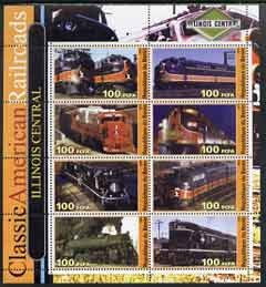 Benin 2003 Classic American Railroads #02 - Illinois Central, perf sheetlet containing set of 8 values unmounted mint