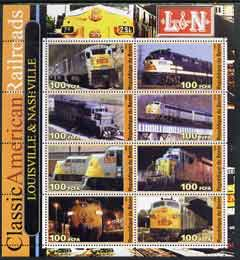 Benin 2003 Classic American Railroads #03 - Louisville & Nashville, perf sheetlet containing set of 8 values unmounted mint