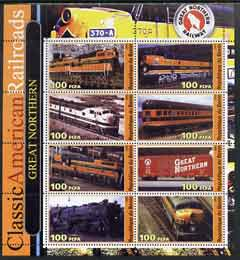 Benin 2003 Classic American Railroads #04 - Great Northern, perf sheetlet containing set of 8 values unmounted mint