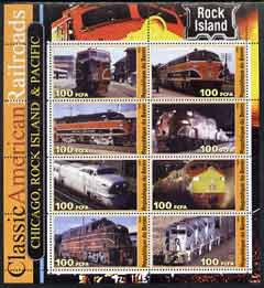 Benin 2003 Classic American Railroads #05 - Chicago, Rock island & Pacific, perf sheetlet containing set of 8 values unmounted mint