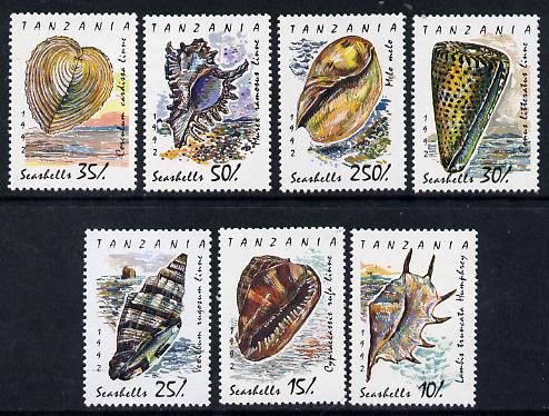 Tanzania 1993 Shells perf set of 7 unmounted mint SG 1301-07*, stamps on marine-life     shells