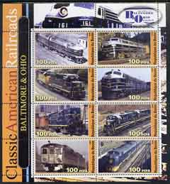 Benin 2003 Classic American Railroads #07 - Baltimore & Ohio, perf sheetlet containing set of 8 values unmounted mint