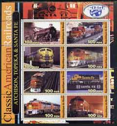 Benin 2003 Classic American Railroads #09 - Atchison, Topeka & Santa Fe, perf sheetlet containing set of 8 values unmounted mint