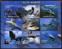 Chad 2004 Marine Animals perf sheetlet containing 9 values fine cto used