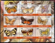 Chad 2004 Butterflies perf sheetlet containing 9 values fine cto used