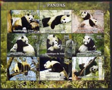 Chad 2004 Pandas perf sheetlet containing 9 values fine cto used