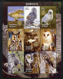 Chad 2004 Owls perf sheetlet containing 9 values each with Rotary or Lions Int Logos fine cto used