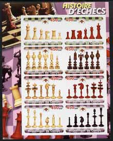 Congo 2003 History of Chess (Chess Pieces) #1 imperf sheetlet containing set of 8 values unmounted mint