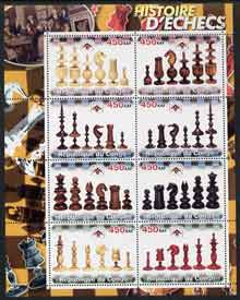 Congo 2003 History of Chess (Chess Pieces) #3 perf sheetlet containing set of 8 values unmounted mint