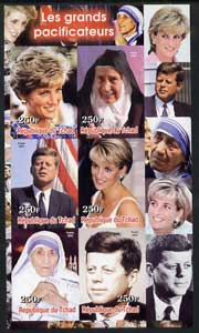 Chad 2003 Peacemakers (Diana, Mother Teresa & JFK) imperf sheetlet containing 6 values unmounted mint